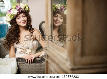 bride with flowers - stock photo