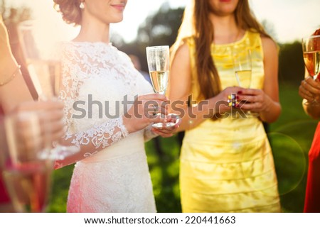 Bride with four happy bridesmaids toasting at the wedding reception outside - stock photo