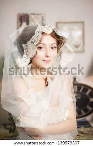 bride with veil - stock photo