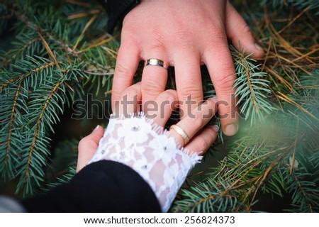 brides and grooms hands. wedding - stock photo