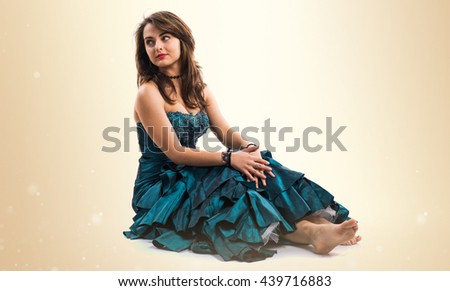 Bridesmaid over ocher background - stock photo