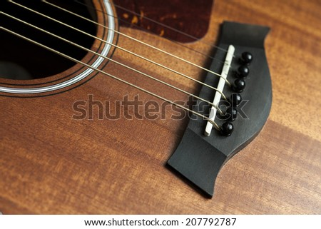 bridge acoustic guitar - stock photo