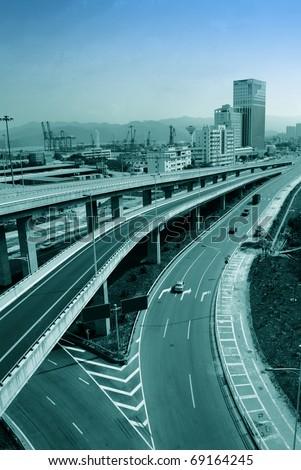 Bridge across the Highway,Bangkok ,Thailand - stock photo