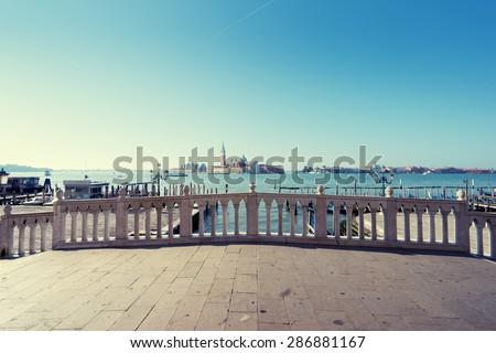 bridge and island San Giorgio Maggiore, Venice, Italy - stock photo
