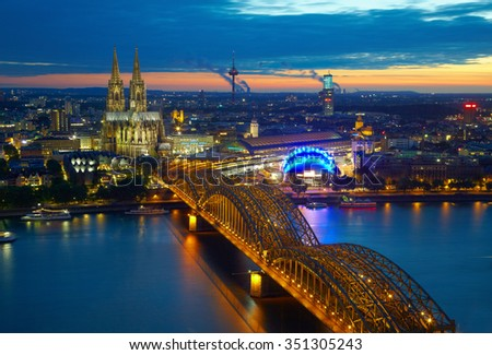 Bridge and old cathedral of Cologne,  Germany - stock photo