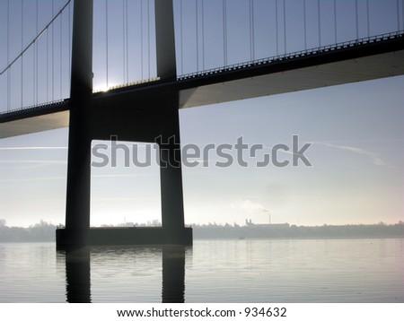 Bridge and Sun - stock photo