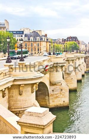 Bridge and the Seine river, Paris, France - stock photo