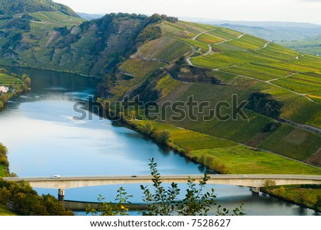 bridge and  vineyards along the mosel river in germany - stock photo