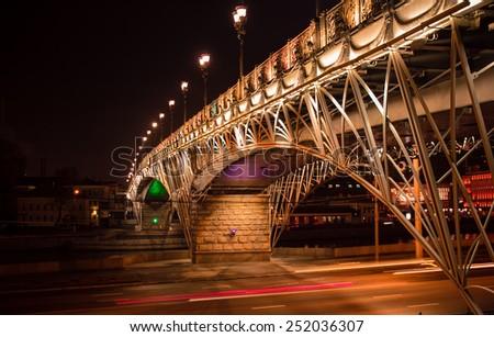 Bridge at night / Moscow city - stock photo