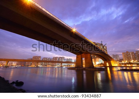 bridge at sunset - stock photo