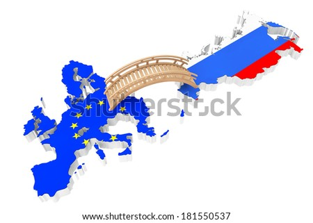 Bridge between Europe and Russia on a white background - stock photo