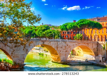 Bridge Cestio - stock photo