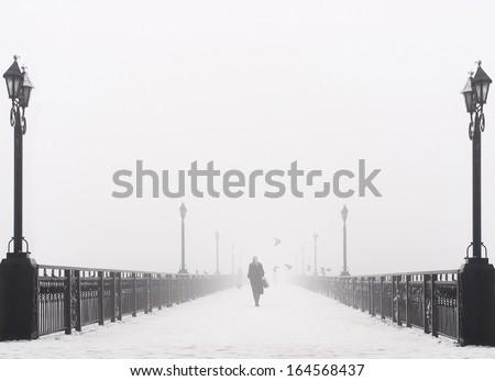 Bridge city landscape in foggy snowy winter day - alone woman, lanterns and doves flock - Ukraine, Donetsk - stock photo