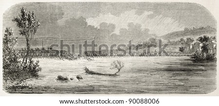Bridge collapse over the Var river, France. Created by Gaildrau, published on L'Illustration, Journal Universel, Paris, 1858 - stock photo