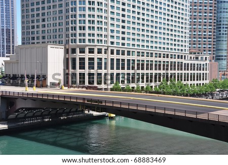 Bridge Crossing Chicago Illinois River - stock photo