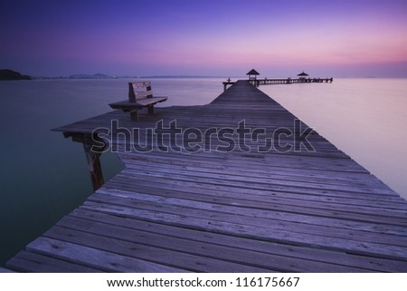 bridge in amazing sunrise. - stock photo