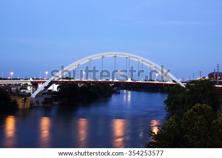 Bridge in downtown of Nashville, Tennessee - stock photo