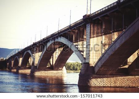 Bridge in Krasnoyarsk, Enisey River - stock photo