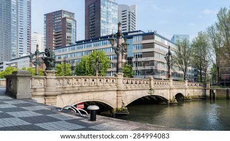 Bridge in Rotterdam, Netherlands - stock photo