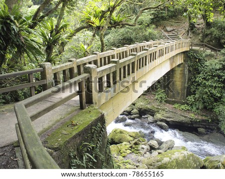Bridge in the forest - stock photo