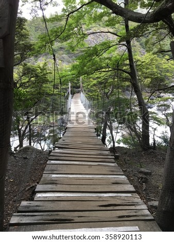 Bridge in Torres del Paine National Park, Chile - stock photo