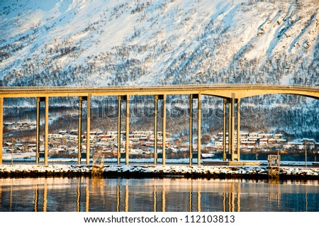 Bridge in Tromso, Norway - stock photo