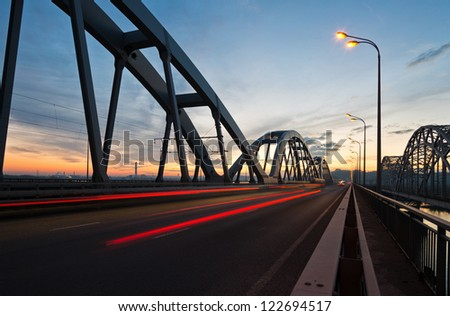 Bridge in twilight - stock photo