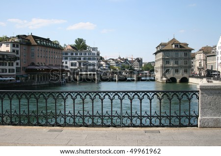 Bridge in Zurich, Switzerland - stock photo