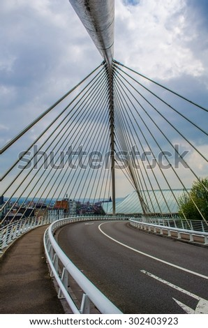 bridge leading to the famous guilemins railway station in belgian city liege. - stock photo