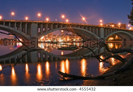 Bridge & Log - 3rd Avenue Bridge - Minneapolis, Minnesota - stock photo