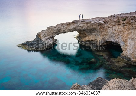 Bridge lovers after sunset near Ayia Napa. Cyprus - stock photo