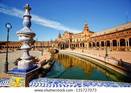 Bridge of Plaza Espana in Sevilla , Spain - stock photo