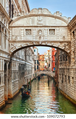 Bridge of Sighs at Doge's Palace, Venice, Italy - stock photo