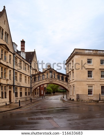 Bridge of Sighs (Copy of one in Venice) at Hertford College in Oxford. England. Spanning New College Lane. - stock photo