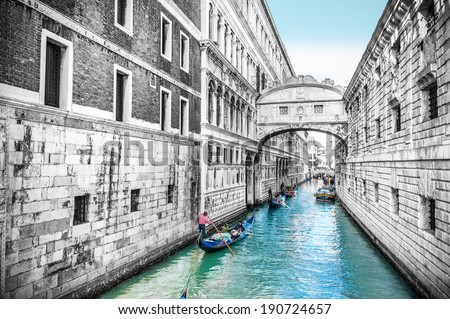 Bridge of Sighs in Venice, Italy - stock photo