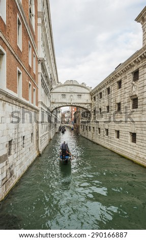Bridge of Sighs in Venice over the Rio de Palazzo between the new prison to the old prison and interrogation rooms within the Doge's Palace, Venice, Italy, Europe - stock photo