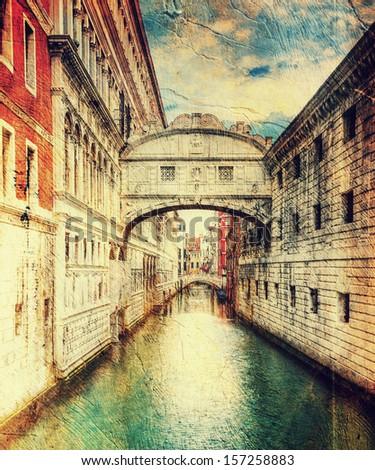 bridge of sighs (ponte dei sospiri). Venice. Italy. - stock photo