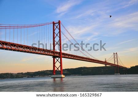 Bridge of 25th april in Lisbon - stock photo