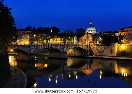 Bridge of Victor Emmanuel II and Basilica of St.Peter at night, Rome, Italy - stock photo