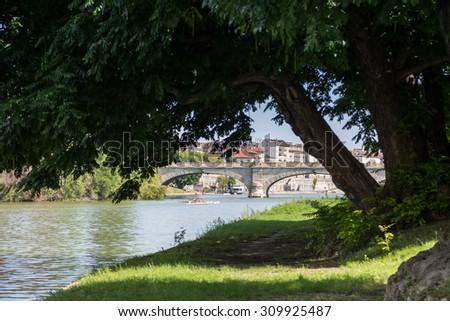 Bridge on Po river in turin - stock photo