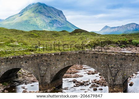 Bridge on Sligachan with Cuillins Hills in the background, Scotland, United Kingdom - stock photo