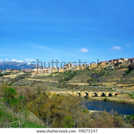 Bridge on the River Ebro, San Vicente de la Sonsierra, La Rioja, Spain - stock photo