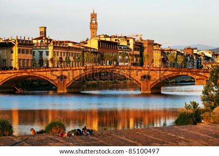 Bridge over Arno River, Florence, Italy,Europe - stock photo