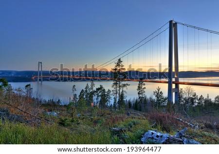 Bridge over Swedish fjord - stock photo