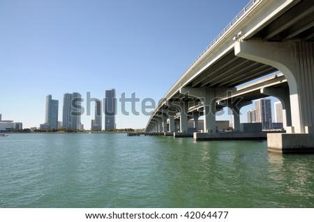 Bridge over the Biscayne Bay, Miami Downtown, Florida USA - stock photo