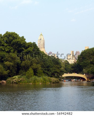 Bridge over the Central Park Lake; with buildings in the background; in vertical orientation - stock photo