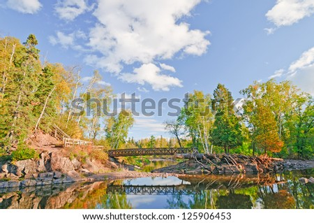Bridge over the Gooseberry River in Northern Minnesota - stock photo