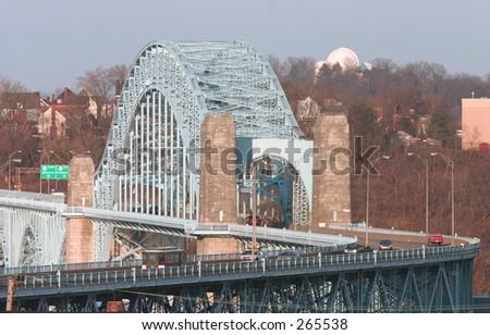 Bridge over the Ohio River. - stock photo