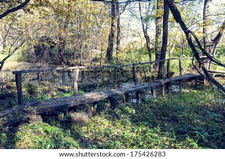 bridge over the river in the autumn in the forest - stock photo
