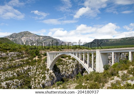 Bridge over the Verdon Gorge, canyon in France, Provence - stock photo